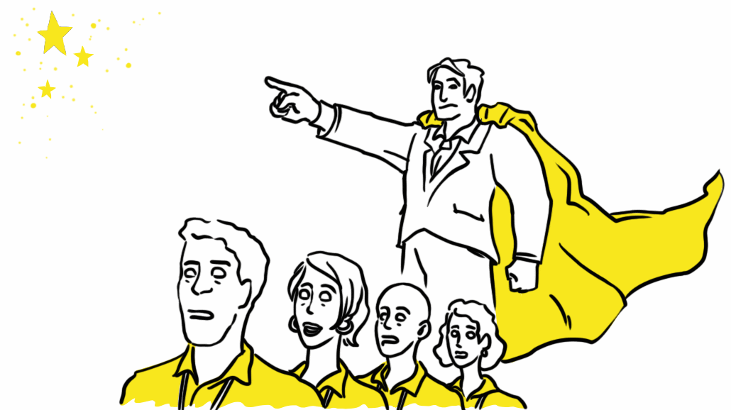 O líder herói destrói a criatividade da equipe